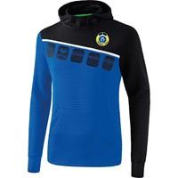 Erima 5-C Sweatshirt Met Capuchon - New Royal / Zwart / Wit