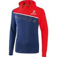 Erima 5-C Sweatshirt Met Capuchon Heren - New Navy / Rood / Wit