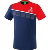 Erima 5-C T-Shirt Heren - New Navy / Rood / Wit