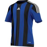 Adidas Striped 15 Shirt Korte Mouw - Bold Blue / Black / White