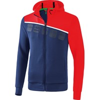 Erima 5-C Trainingsjack Met Capuchon - New Navy / Rood / Wit