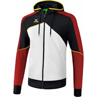 Erima Premium One 2.0 Trainingsjack Met Capuchon - Wit / Zwart / Rood / Geel