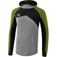 Erima Premium One 2.0 Sweatshirt Met Capuchon Kinderen - Grey Melange / Zwart / Lime Pop