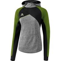 Erima Premium One 2.0 Sweatshirt Met Capuchon Dames - Grey Melange / Zwart / Lime Pop