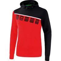 Erima 5-C Sweatshirt Met Capuchon Kinderen - Rood / Zwart / Wit