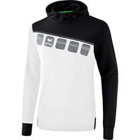 Erima 5-C Sweatshirt Met Capuchon - Wit / Zwart / Donkergrijs