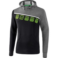 Erima 5-C Sweatshirt Met Capuchon Kinderen - Zwart / Grey Melange / Wit