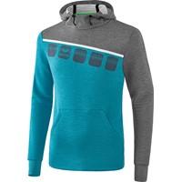 Erima 5-C Sweatshirt Met Capuchon Kinderen - Oriental Blue Melange / Grey Melange / Wit