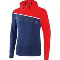 Erima 5-C Sweatshirt Met Capuchon Kinderen - New Navy / Rood / Wit