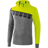 Erima 5-C Sweatshirt Met Capuchon Kinderen - Grey Melange / Lime Pop / Zwart