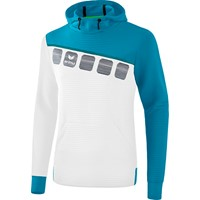 Erima 5-C Sweatshirt Met Capuchon Kinderen - Wit / Oriental Blue / Colonial Blue