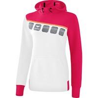 Erima 5-C Sweatshirt Met Capuchon Kinderen - Wit / Love Rose / Peach