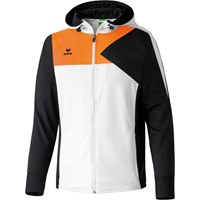 Erima Premium One Trainingsjack Met Capuchon - Wit / Zwart / Neon Oranje