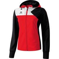 Erima Premium One Trainingsjack Met Capuchon Dames - Rood / Zwart / Wit