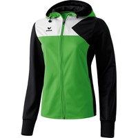 Erima Premium One Trainingsjack Met Capuchon Dames - Green / Zwart / Wit