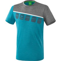 Erima 5-C T-shirt - Oriental Blue Melange / Grey Melange / Wit