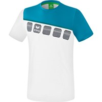Erima 5-C T-shirt - Wit / Oriental Blue / Colonial Blue