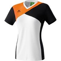 Erima Premium One T-shirt Dames - Wit / Zwart / Neon Oranje