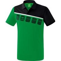 Erima 5-C Polo Kinderen - Smaragd / Zwart / Wit