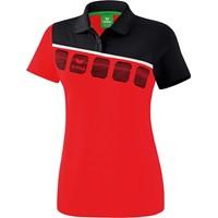 Erima 5-C Polo Dames - Rood / Zwart / Wit