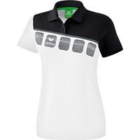 Erima 5-C Polo Dames - Wit / Zwart / Donkergrijs