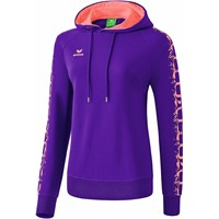 Erima Graffic 5-C Sweatshirt Met Capuchon Dames - Dark Violet / Coral