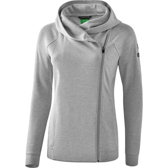 Picture of Erima Essential Sweatjack Met Capuchon Dames - Licht Grey Melange / Zwart