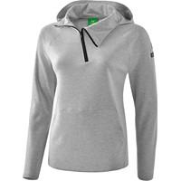 Erima Essential Sweatshirt Met Capuchon Dames - Licht Grey Melange / Zwart