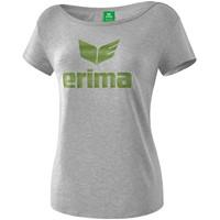 Erima Essential T-shirt Dames - Licht Grey Melange / Twist Of Lime