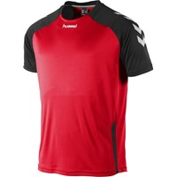 Hummel Aarhus Shirt Korte Mouw - Rood / Zwart