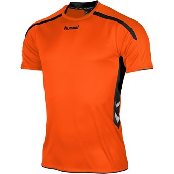 Picture of Hummel Preston Shirt Korte Mouw Kinderen - Oranje / Zwart
