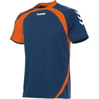Hummel Odense Shirt Korte Mouw Kinderen - Dark Denim / Shocking Orange