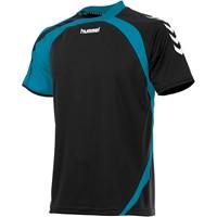 Hummel Odense Shirt Korte Mouw - Zwart / Aqua Blue