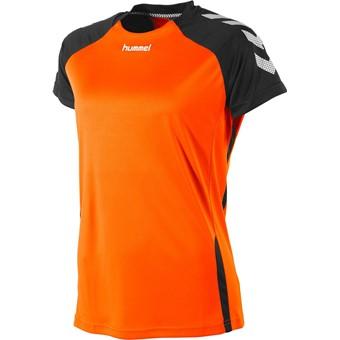 Picture of Hummel Aarhus Shirt Korte Mouw Dames - Fluo Oranje / Zwart