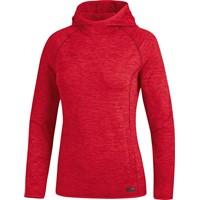 Jako Active Basics Sweater Met Kap Dames - Rood Gemeleerd