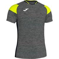 Joma Crew III T-shirt Kinderen - Donkergrijs Gemeleerd / Zwart / Geel