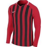 Nike Striped Division III Voetbalshirt Lange Mouw - Rood / Zwart