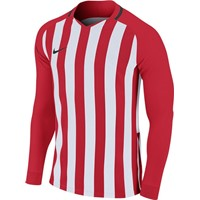 Nike Striped Division III Voetbalshirt Lange Mouw - Rood / Wit
