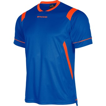 Picture of Stanno Arezzo Shirt Korte Mouw Kinderen - Deep Blue / Fluo Oranje