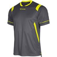 Stanno Arezzo Shirt Korte Mouw Kinderen - Antraciet / Fluogeel