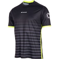 Stanno Fusion Shirt Korte Mouw - Zwart / Fluogeel